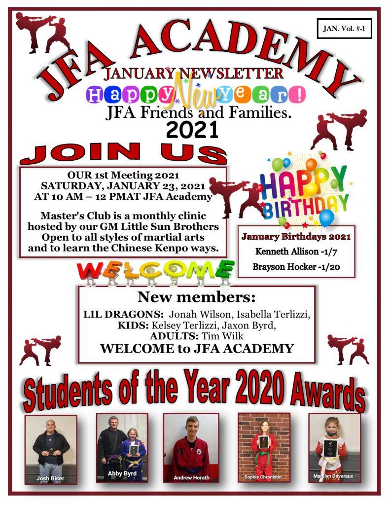 JFA Academy January 2021 Newsletter