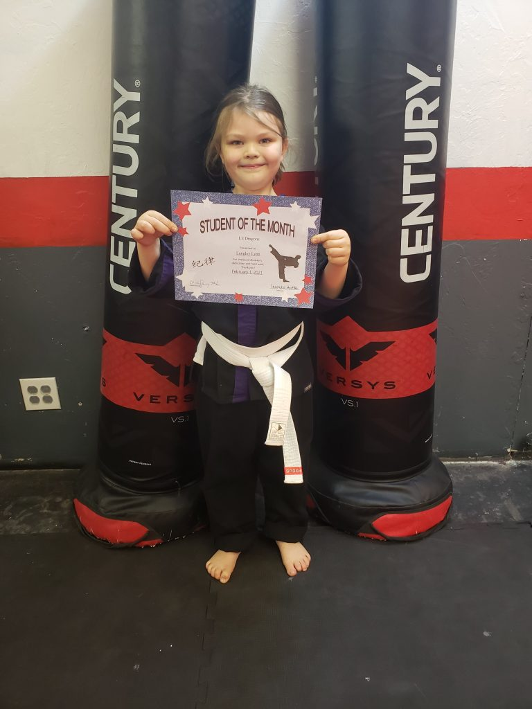 Lil Dragons Purcell Oklahoma Feb 2021 Student of the Month