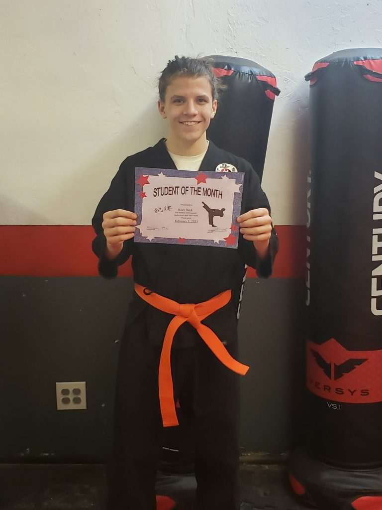 Riley Heck Senshi Ryu Feb 2021 Adult Student of the Month